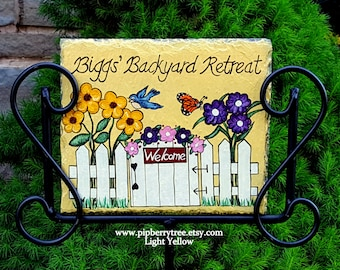 Personalized Hand Painted Decorative Garden Slate Sign/Life's A Garden Dig It/ Welcome to the/my garden/ I'm in the garden/Garden Slate Sign
