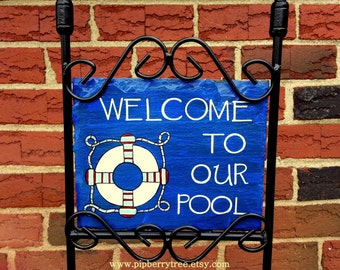 Welcome To Our Pool Hand Painted Decorative Slate Sign/Welcome To Our Pool Sign/Decorative Welcome To Our Pool Sign/Welcome Slate Sign
