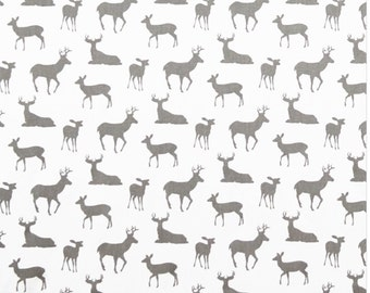 Deer Silhouette White/Storm  Cotton Fabric for Premier Prints - 1 yard