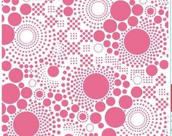 Riley Blake Hot Pink and Pop White Circles Fabric - 1 Yard