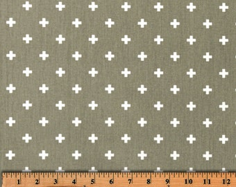 Swiss Cross Storm Gray and White  Cotton Fabric for Premier Prints - 1 yard
