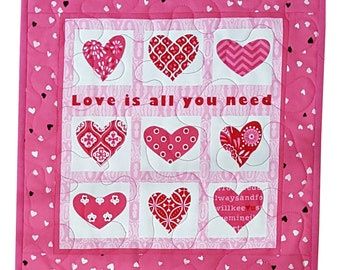 Valentine Wall Hanging or Table Topper Quilt, Love is All you Need