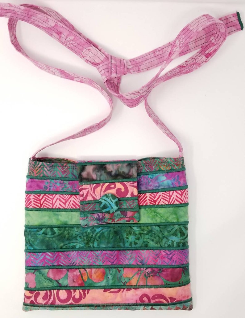 Fuchsia and Green Batik Purse with Adjustable Straps
