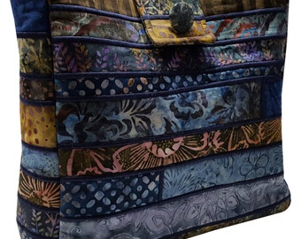 Large Batik Purse in Shades of Blue and Brown Fabrics