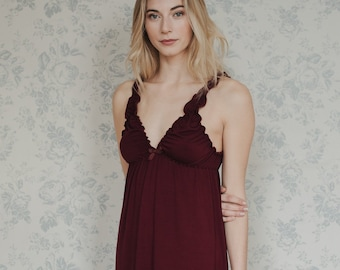 79735fc3f Bamboo jersey nightie, red lingerie, eco lingerie sleepwear, pajamas,  nightwear, negligee, vintage style nightie, plus size available,