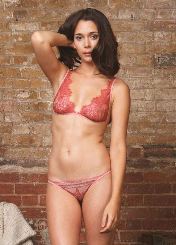 a27e30ef85 Chantilly Lace Soft Bra   Panty Lingerie set Sheer lingerie