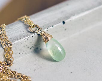 Prehnite Gemstone Pendant Necklace, Gold Necklace with Pale Green Gemstone