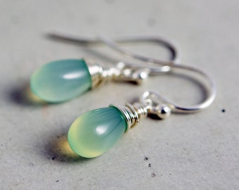 Seafoam Blue Chalcedony Drop Earrings, Sky Blue Crystal Dangle Earrings on Sterling Silver