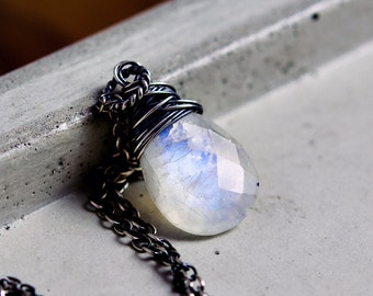 Moonstone Necklace, Silver Necklace, Wire Wrapped, White Labradorite Jewelry,
