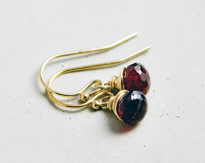 Garnet Earrings, Wire Wrapped, Drop Earrings, Gemstone Jewelry, Gold Earrings, January Birthstone, Dangle Earrings, PoleStar