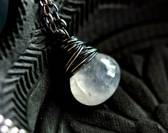 Rainbow Moonstone Pendant Necklace, White Crystal Gemstone on Sterling Silver