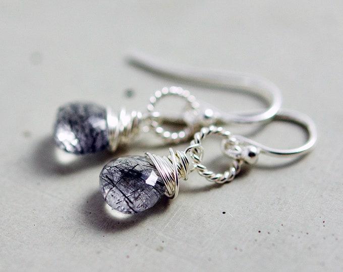 Tourmalinated Quartz Drop Earrings, Crystal Quartz Earrings, Black and White Earrings, Sterling Silver Drop Earrings