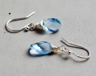 Topaz Earrings, Blue Topaz, Drop Earrings, Wire Wrapped, November Birthstone, Sky Blue Topaz, Dangle Earrings, Sterling Silver, PoleStar