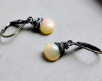 Opal Drop Earrings, Ethiopian Opal October Birthstone Drop Earrings