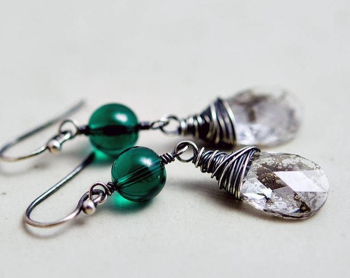 Crystal Earrings, Dangle Earrings, Emerald Earrings, Crystal Earrings, Crystal Jewelry, Silver Patina, Wire Wrapped, Drop Earrings, PoleStar