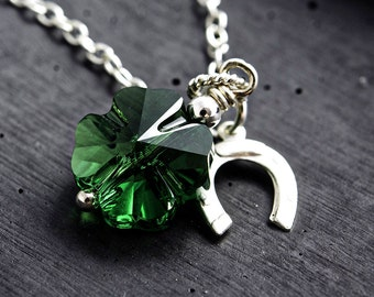 Shamrock Necklace, St. Patrick's Day, Lucky Clover, Emerald Green, Clover Pendant, Horseshoe, Lucky Charm, Crystal Clover, Crystal Necklace