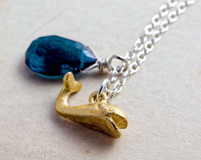 Whale Necklace, Quartz Necklace Mystic Quartz, Teal Blue, Sterling Silver, Nautical Necklace, Whale Pendant, Moby Dick, PoleStar