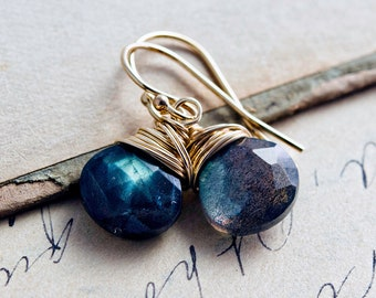 Labradorite Gold Drop Earrings, Blue Crystal Dangle Earrings