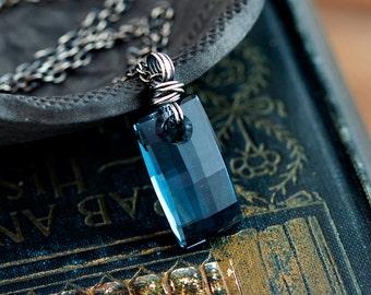 Crystal Necklace, Crystal Pendant, Modern Pendant, Swarovski Crystal, Masala Fuchsia, Pink, Mauve, Geometric Pendant, Sterling Silver