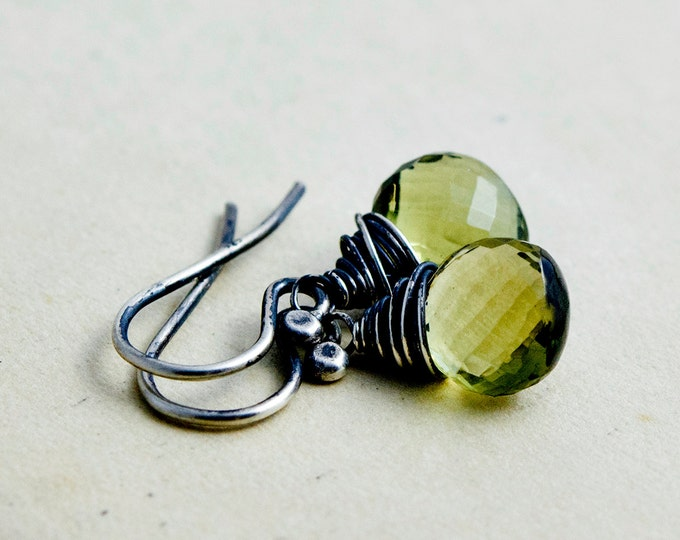 Quartz Earrings, Olive Quartz Jewelry, Drop Earrings, Wire Wrapped, Sterling Silver, November Birthstone, Birthstone Earrings , PoleStar
