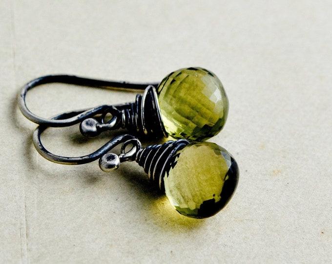 Olive Quartz Drop Earrings, Green Crystal Quartz Citrine Dangle Earrings
