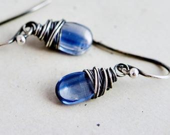 Denim Blue Kyanite Drop Earrings, Sapphire Blue Crystal Dangle Earrings, Midnight Blue Kyanite Gemstones on Sterling Silver