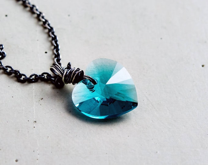Teal Heart Necklace, Crystal Heart Necklace