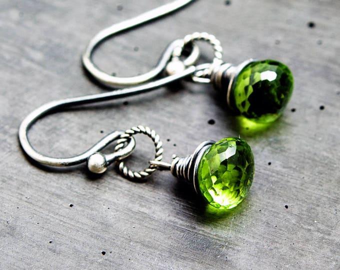 Peridot Earrings,  August Birthstone Earrings, Gemstone Drop Earrings,