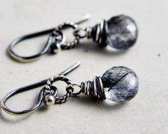 Tourmalinated Quartz Dangle Earrings, Modern Crystal Drop Earrings