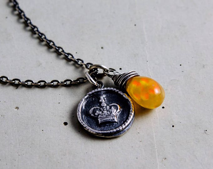 Crown Charm and Opal Necklace, Necklace for a Queen on Sterling Silver