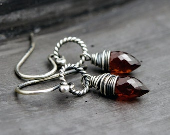 Garnet Earrings, Drop Earrings, Garnet Jewelry, January Birthstone, Wire Wrapped, Sterling Silver,