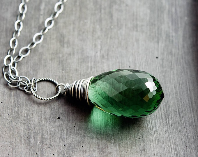 Green Crystal Necklace, Crystal Pendant, Green Crystal, Forest Green, Dark Green, Gemstone Jewelry, Gemstone Pendant, Wire Wrapped Pendant