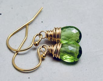 Peridot Gemstone Drop Earrings, Green Crystal Dangle Earrings on Gold