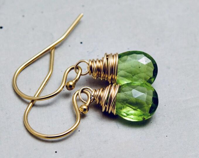 Peridot Gemstone Drop Earrings, Green Crystal Dangle Earrings on Gold
