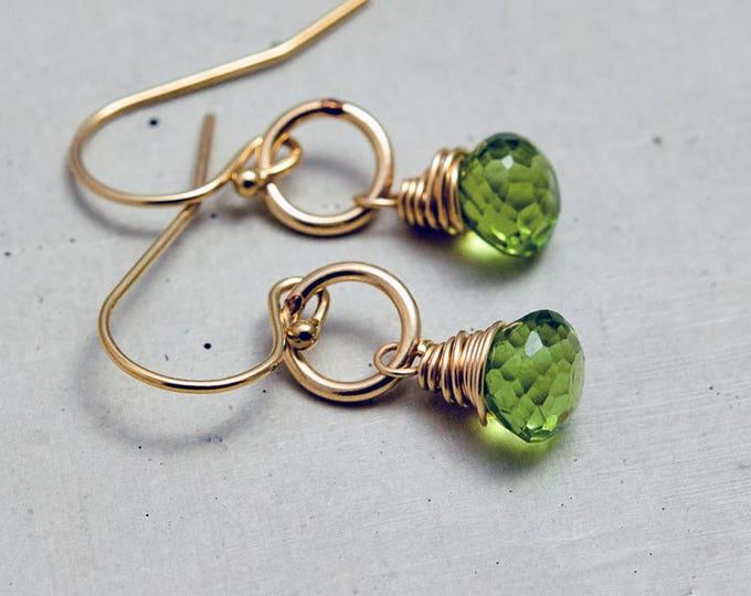 Peridot Earrings, Peridot Jewelry, August Birthstone, Drop Earrings Dangle Earrings, Lime Green, Birthstone Jewelry, Green Gemstone