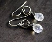 Moonstone Drop Earrings, Rainbow Moonstone Drop Earrings on Sterling Silver