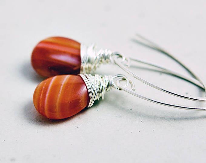 Red Agate Drop Earrings Gemstone Jewelry Silver Dangle PoleStar