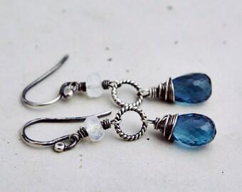London Blue Topaz, Topaz Earrings, Dangle Earrings, Chandelier Earrings, Wire Wrapped, Swarovski Crystal, December Birthstone, Blue Topaz