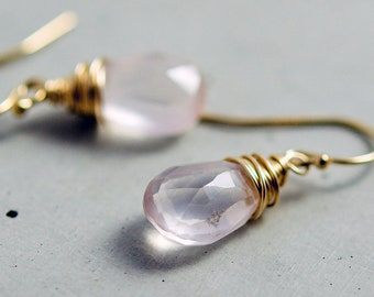 Rose Quartz Earrings, Rose Quartz, Blush Pink, Gold Earrings, Gemstone Earrings, Pale Pink, Pastel Pink, 14K gold filled, PoleStar
