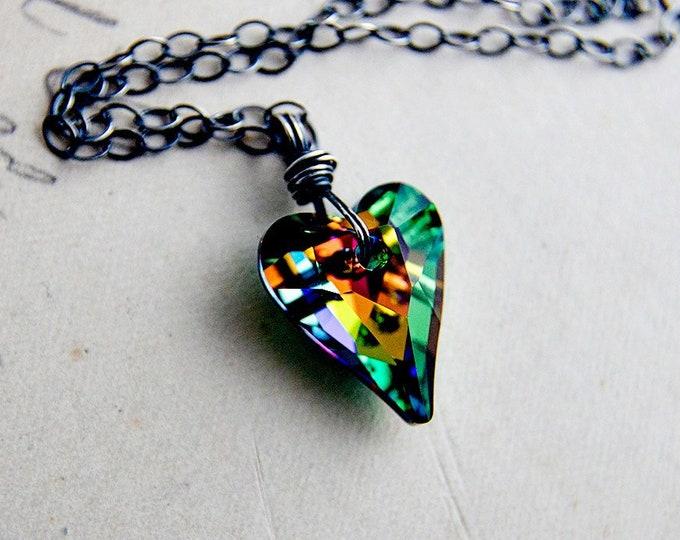 Swarovski Crystal Heart Necklace, Rainbow Heart Pendant on Sterling Silver