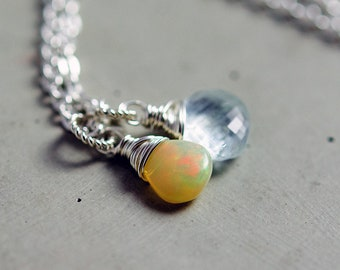 Pale Blue Stone Necklace, Ethiopian Opal, Aquamarine Necklace, Wire Wrapped, Sterling Silver
