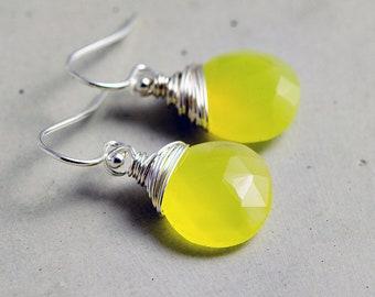 Lemonade Earrings, Chalcedony Earrings, Sterling Silver Earrings, Crystal Earrings