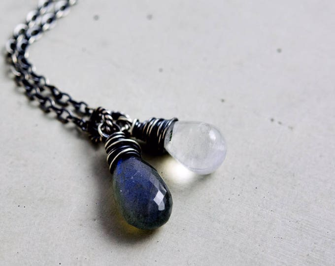 Labradorite and Moonstone Pendant Necklace, Blue Labradorite and Rainbow Moonstone on Sterling Silver