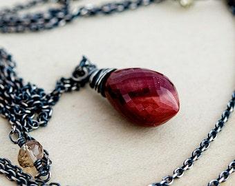 Mookaite Necklace, Scapolite Necklace, Jasper Necklace, Mookaite Jasper, Sterling Silver, Dark Red, PoleStar, Burgundy, Champagne Gemstone