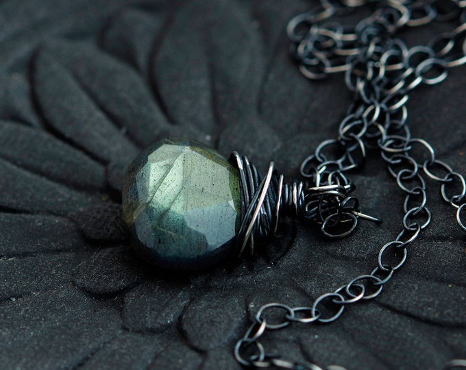 Labradorite Necklace, Gemstone Necklace, Gemstone Pendant, Labradorite Jewelry, Sterling Silver, Thunder Storm, Midnight Blue, PoleStar