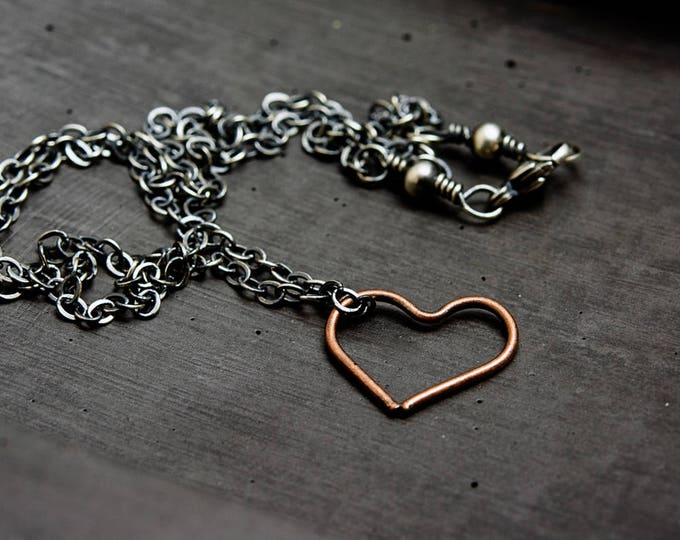 Copper Heart Charm Necklace, Love Heart Pendant Sterling Silver Necklace