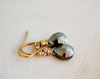Pyrite Earrings, Pyrite Jewelry, Gold Earrings, Drop Earrings,  Fools Gold, Metallic ,Brown, Dangle Earrings, Gold Jewelry, PoleStar
