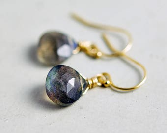 Labradorite Drop Earrings, Blue Gemstone Dangle Earrings on Gold