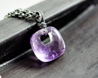 Pink Amethyst Kundal Pendant, Unique Amethyst Necklace in Sterling Silver