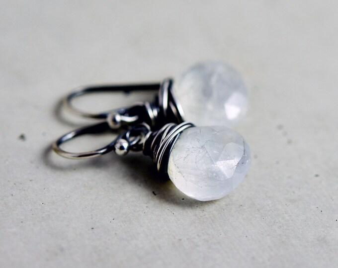 Moonstone Drop Earrings, Rainbow Moonstone Dangle Earrings on Sterling Silver